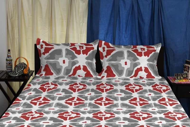 SPACES Cotton Double King Abstract Bedsheet(1 Double Bedsheet, Red, Grey)