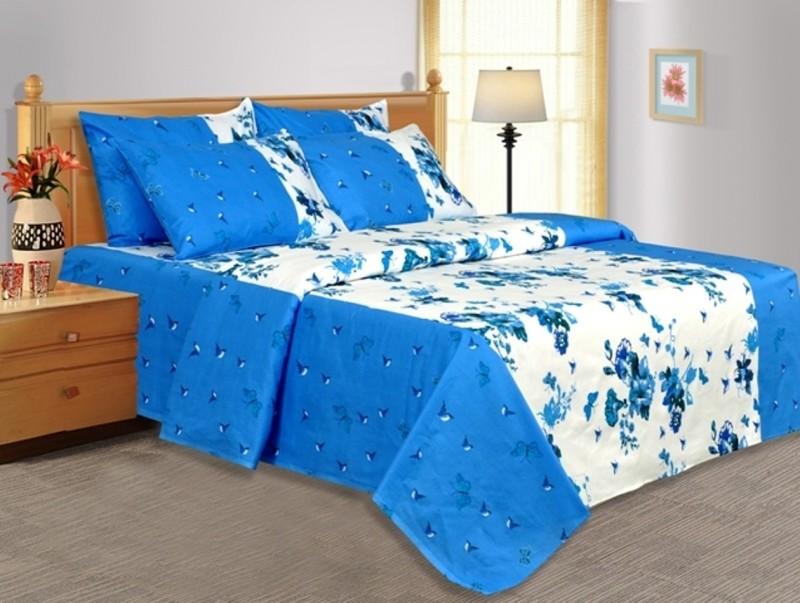 Salona Bichona 104 TC Cotton Double Floral Bedsheet(1 Double Bedsheet, 2 Pillow covers, Blue)