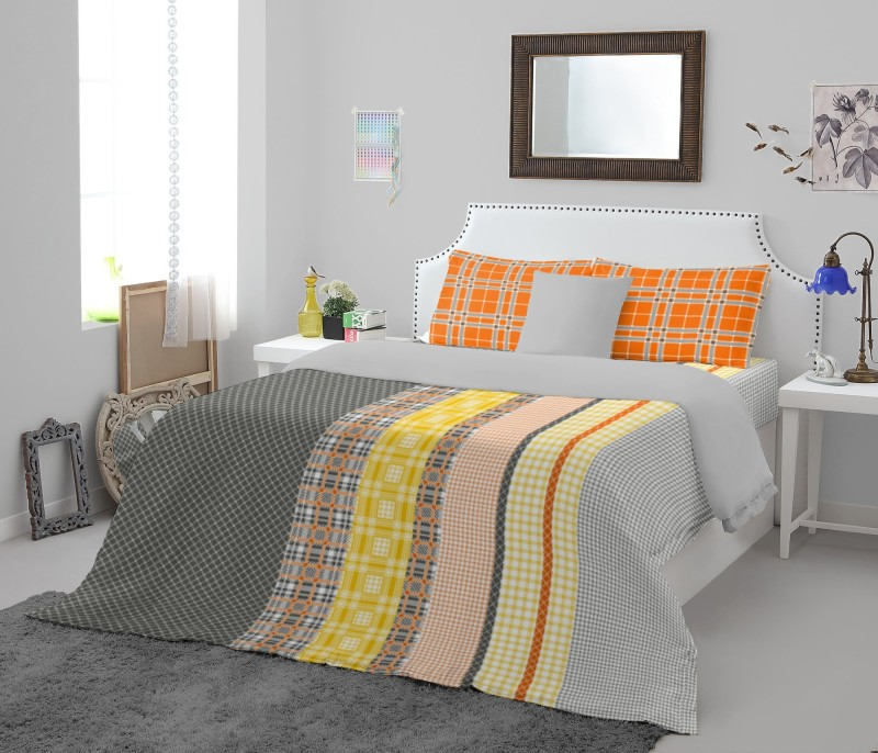 SPACES 180 TC Cotton Double King Printed Bedsheet(1 Double Bedsheet, Orange)