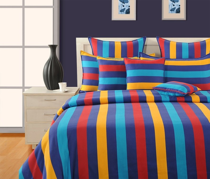 Swayam 180 TC Cotton Single Striped Bedsheet(1 Single Bedsheet and 1 Pillow Cover, Blue, Yellow, Red)