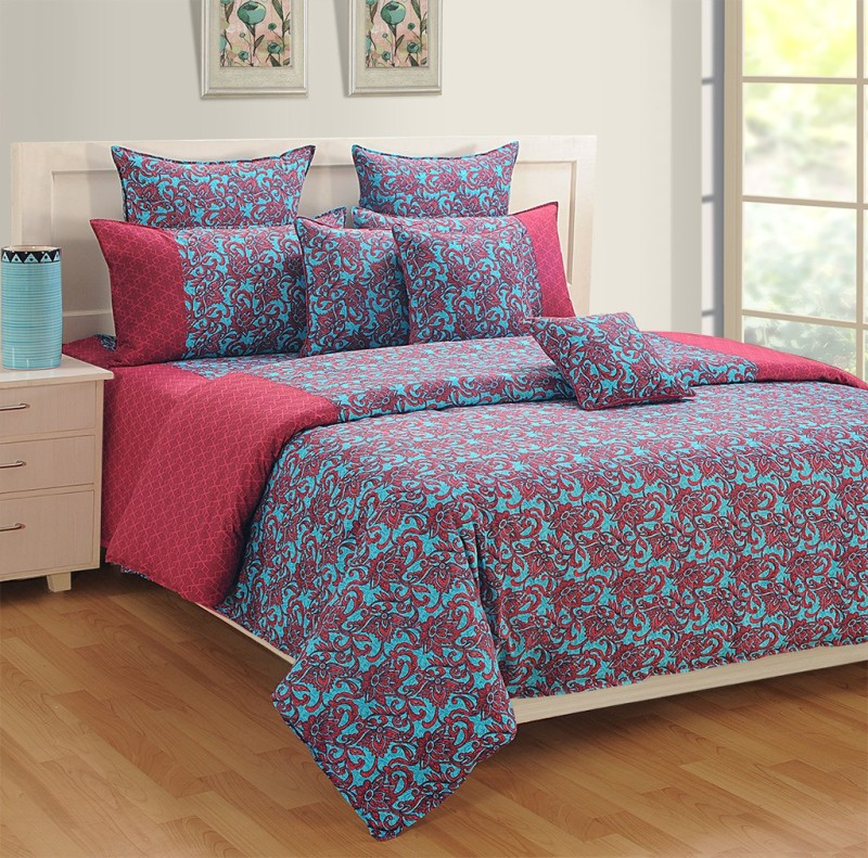 Swayam 180 TC Cotton Single Floral Bedsheet(1 Single Bedsheet and 1 Pillow Cover, Blue, Pink)