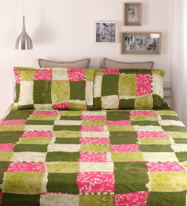 Dreamscape 144 TC Cotton Double Abstract Bedsheet(1 Bedsheet, 2 Pillow Covers, Green)