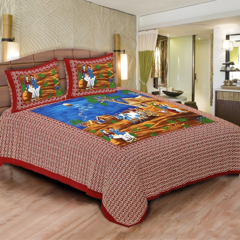 Pahnawa Cotton Double 3D Printed Bedsheet(1 Bedsheet & 2 Pillow Covers, Maroon)