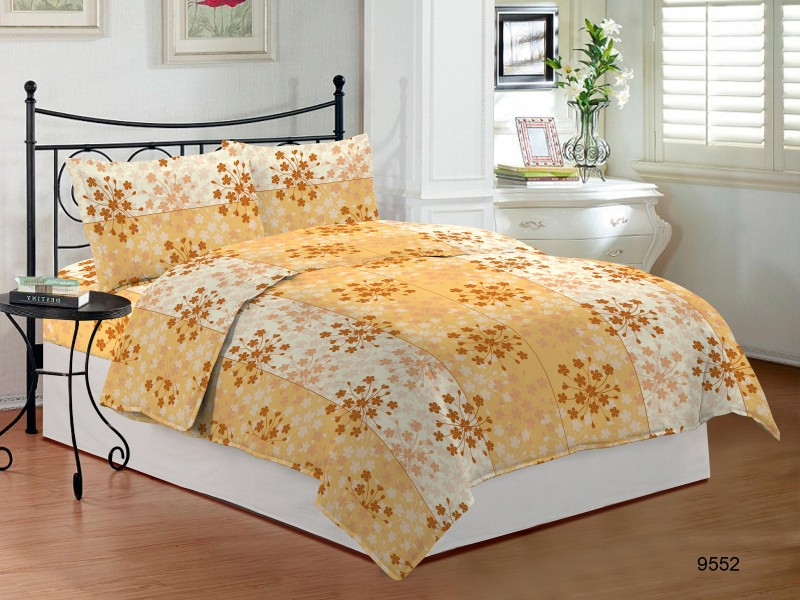 Bombay Dyeing Cotton Double Printed Bedsheet(Pack of 1, Yellow)