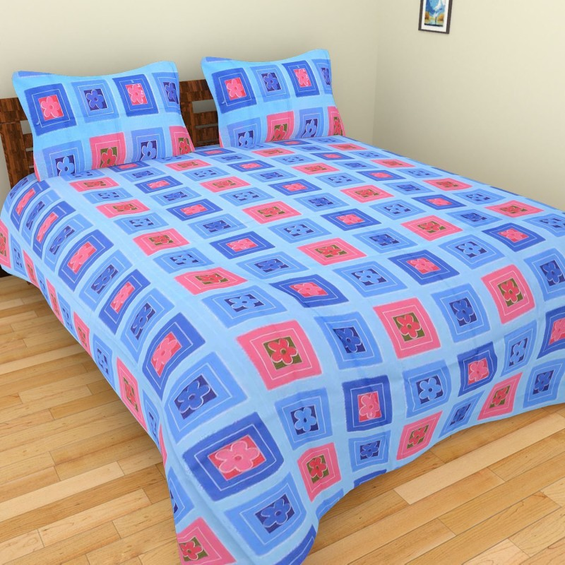 BSB Trendz Cotton Double Checkered Bedsheet(1 Bed Sheet With 2 Pillow Cover, Multicolor)