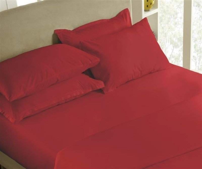 Maspar 200 TC Cotton Double King Plain Bedsheet(Pack of 1, Red)