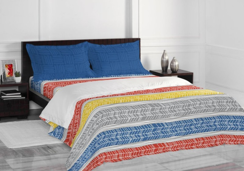 SPACES 144 TC Cotton Double Abstract Bedsheet(1 Double Bedsheet with complimentary 2 Pillow Covers, Blue)