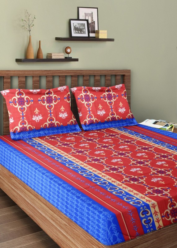 Bombay Dyeing Cotton Double Printed Bedsheet(1 Double Bedsheet, 2 Pillow Covers, Red)