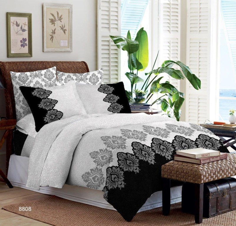 Bombay Dyeing Cotton Double King Floral Bedsheet(1 DOUBLE BEDSHEET, 4 PILLOW COVER, Grey)