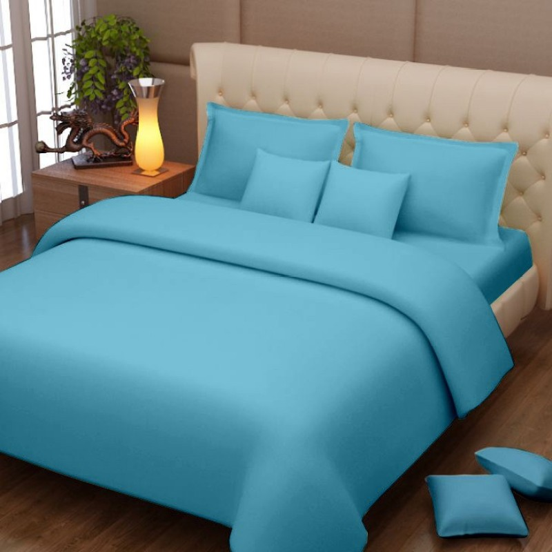 Queen Cotton 152 TC Cotton Double Plain Bedsheet(1 Double Bed sheet with 2 Pillow covers, Blue)
