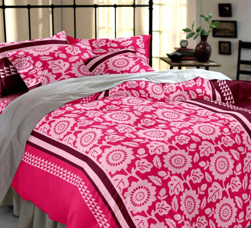 Dreamscape 144 TC Cotton Double Floral Bedsheet(Pack of 1, Pink)