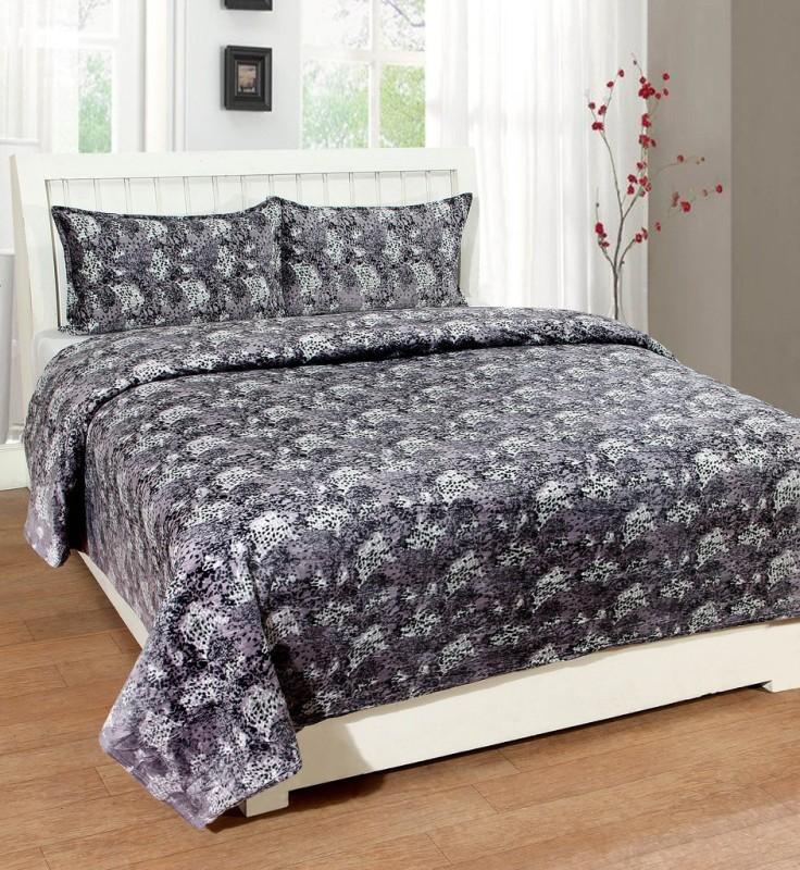BSB Trendz 200 TC Velvet Double Printed Bedsheet(1 Bedsheet With 2 Pillow Covers, Grey)