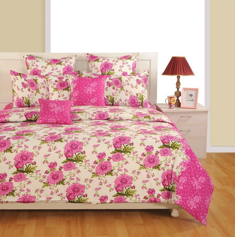 Swayam 180 TC Cotton, Satin Single Floral Bedsheet(1 Single Bedsheet and 1 Pillow Cover, Magenta, Off White)