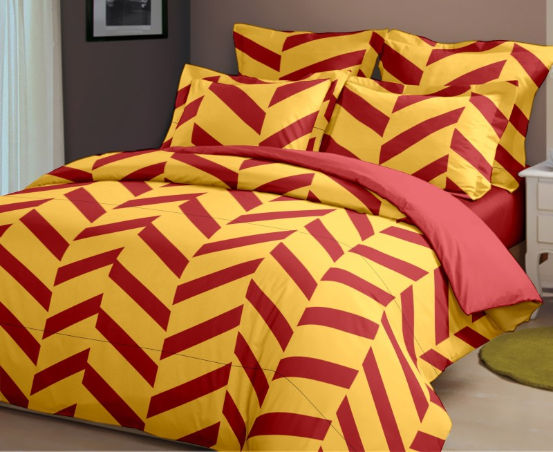 Dreamscape 144 TC Cotton Double Striped Bedsheet(Pack of 1, Red)