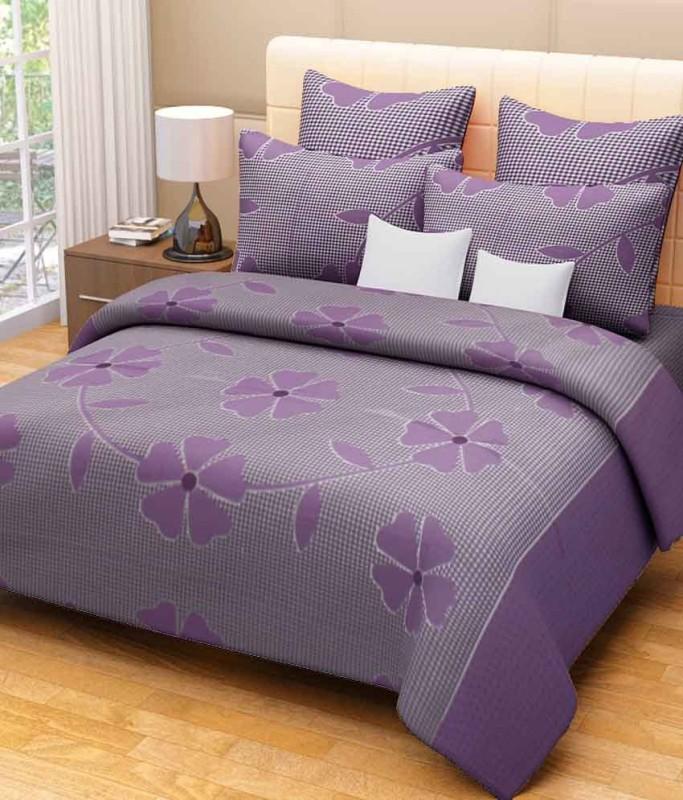 Kdecor 144 TC Cotton Double Floral Bedsheet(Pack of 1, Purple)