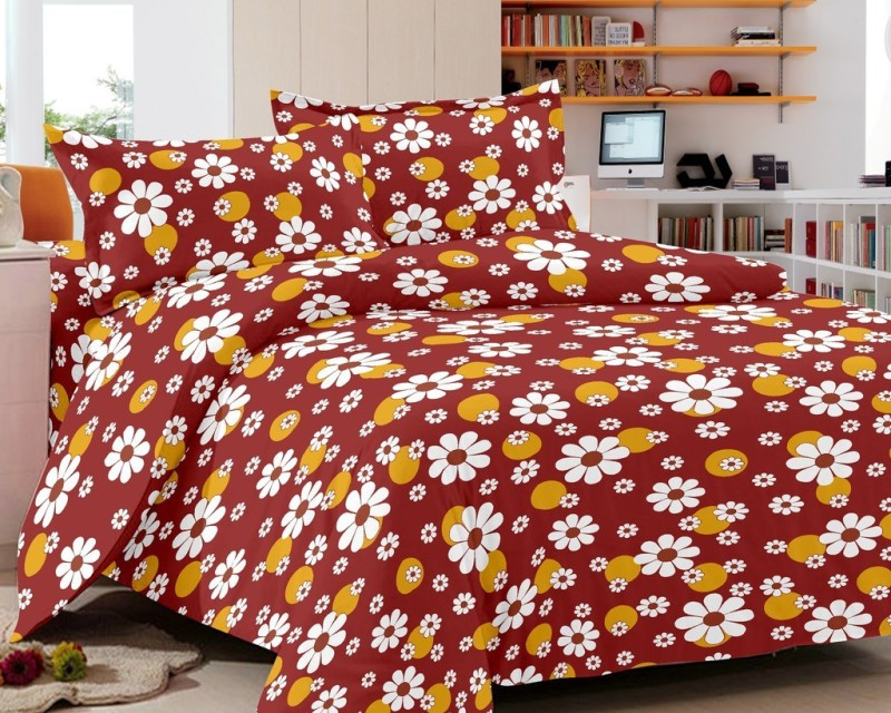 India Furnish 130 TC Cotton Double Floral Bedsheet(Pack of 1, Brown)