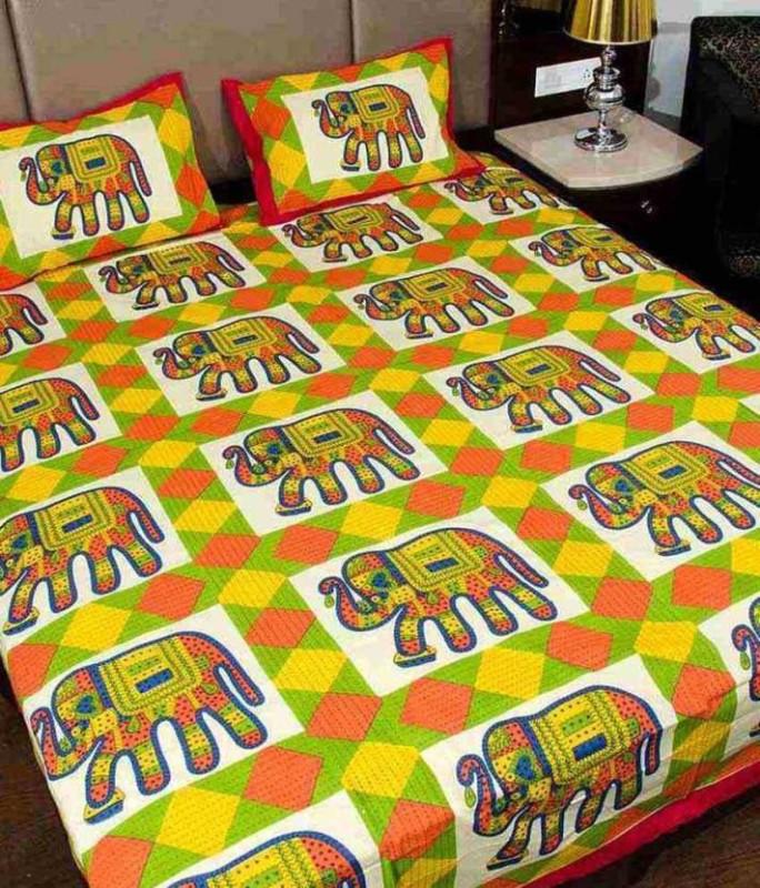 Original Labour 200 TC Cotton Double 3D Printed Bedsheet(Pack of 1, Multicolor)