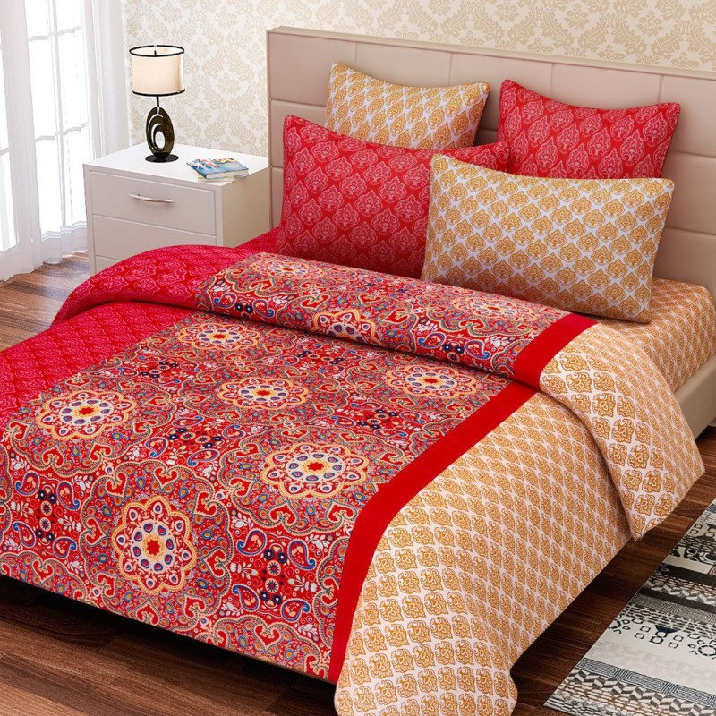 SEJ by Nisha Gupta 180 TC Cotton Double King Floral Bedsheet(Pack of 1, Multicolor)