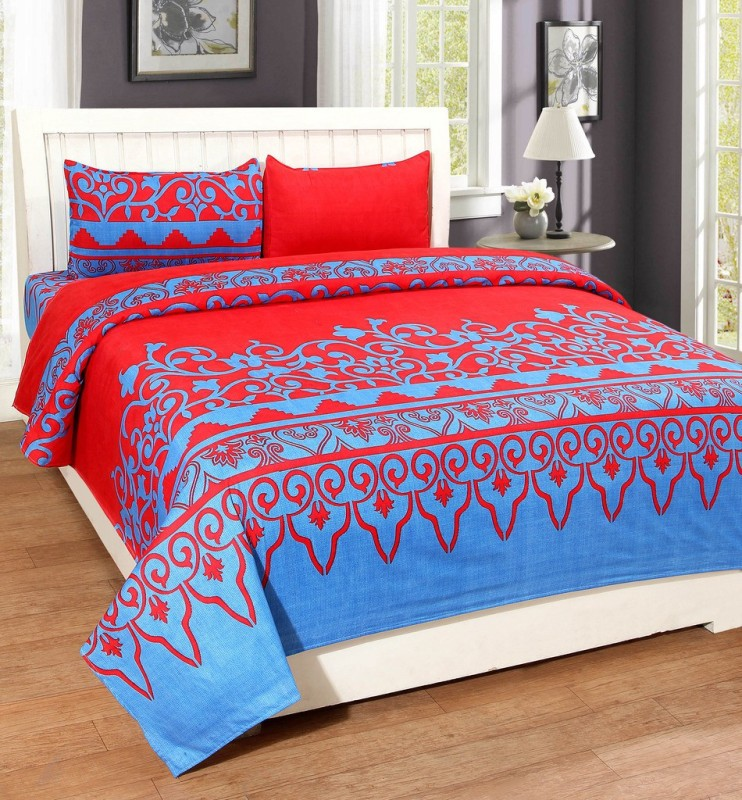 BSB Trendz 120 TC Polycotton Double King Printed Bedsheet(1 Bedsheet With 2 Pillow Covers, Multicolor)