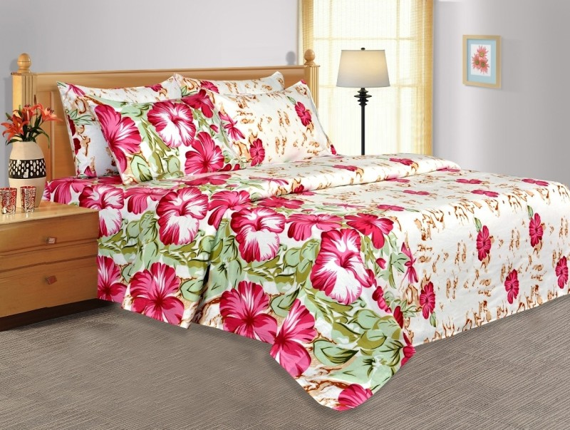 Salona Bichona 104 TC Cotton Double Floral Bedsheet(1 Double Bedsheet, 2 Pillow covers, White)
