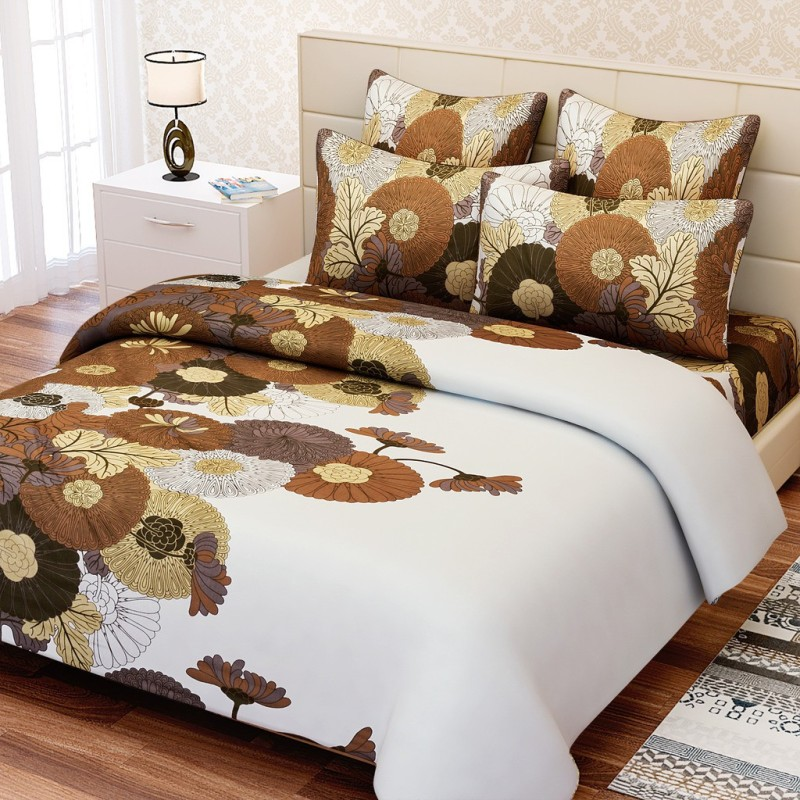 SEJ by Nisha Gupta 240 TC Cotton Double King Floral Bedsheet(1 Bedsheet, 2 Pillow Covers, Multicolor)