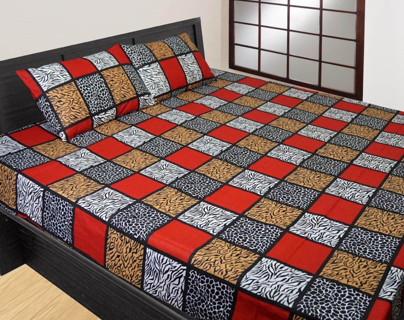 SGH Cotton Double Printed Bedsheet(Pack of 1, Red)