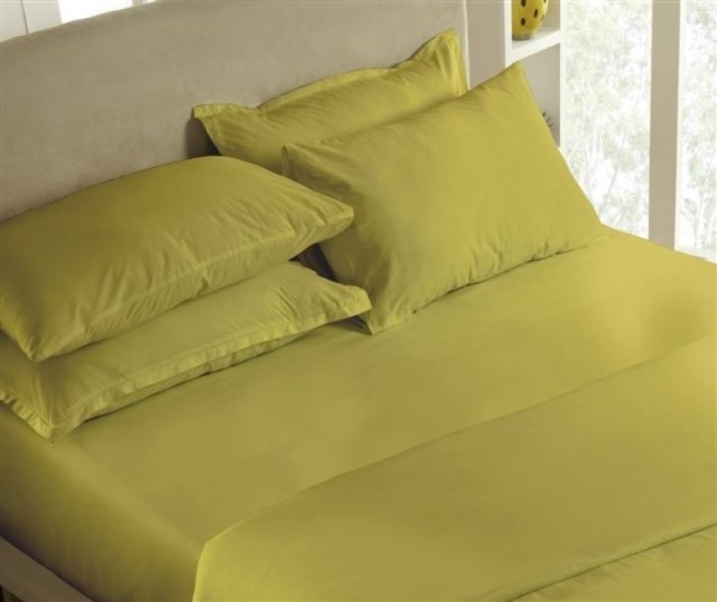 Maspar 200 TC Cotton Double King Plain Bedsheet(Pack of 1, Green)