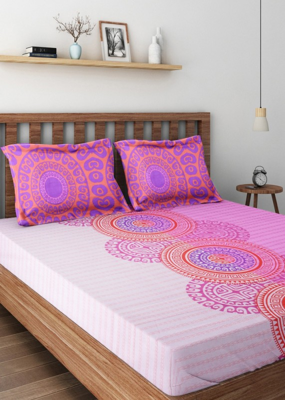 Bombay Dyeing Cotton Double Printed Bedsheet(1 Double Bedsheet, 2 Pillow Covers, Pink)