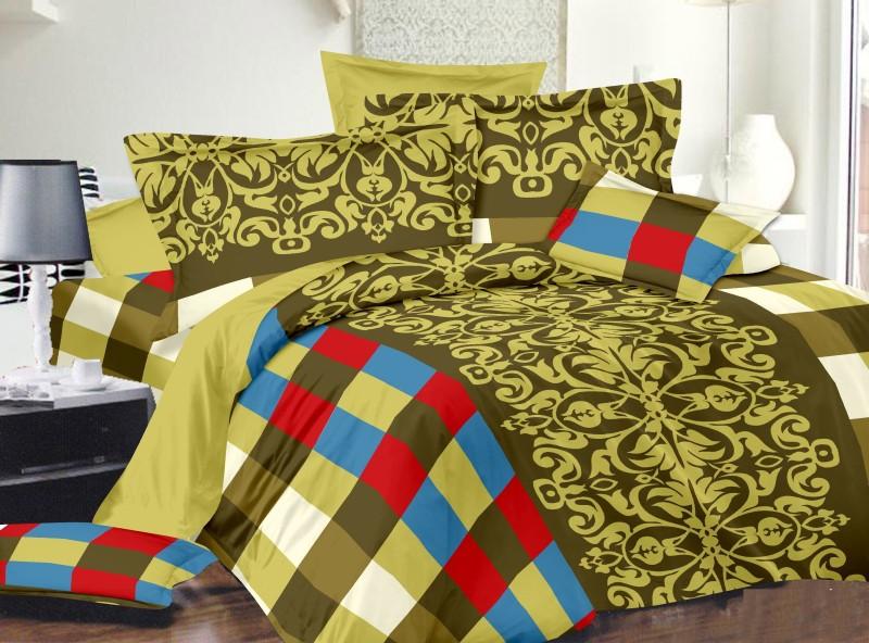 Dreamscape 220 TC Cotton Double Geometric Bedsheet(Pack of 3, Multicolor)