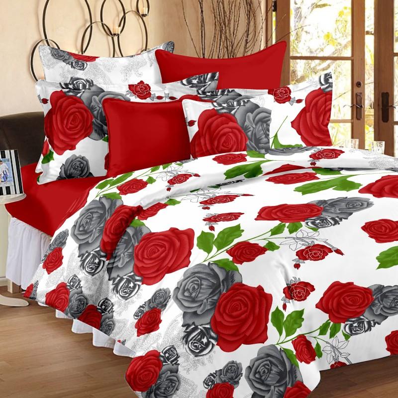 Ahmedabad Cotton 144 TC Cotton Double Floral Bedsheet(1 Double Bedsheet, 2 Pillow...