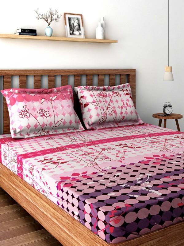 Bombay Dyeing 220 TC Cotton Double King Floral Bedsheet(1DOUBLE BEDSHEET, 2 PILLOW COVER, Pink)