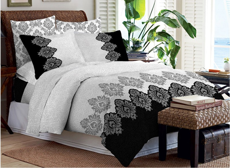 Bombay Dyeing Cotton Double Printed Bedsheet(4 Pillow Covers, 1 Double Bedsheet)