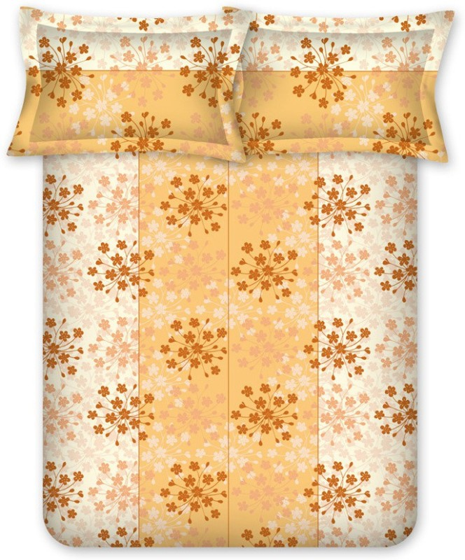 Bombay Dyeing 120 TC Cotton Double Floral Bedsheet(Yellow)