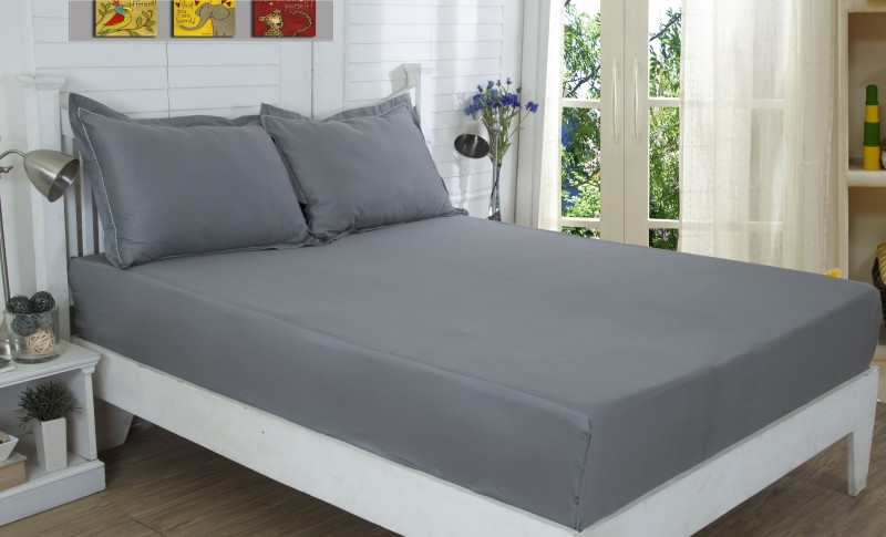 Maspar 210 TC Cotton Double King Plain Bedsheet(Pack of 1, Grey)