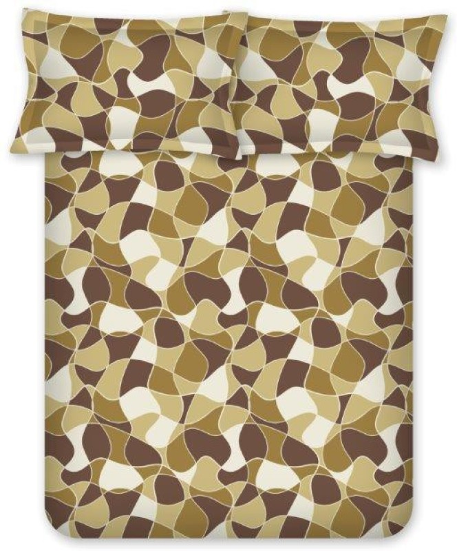 Bombay Dyeing Cotton Double Geometric Bedsheet(Pack of 1, Brown)