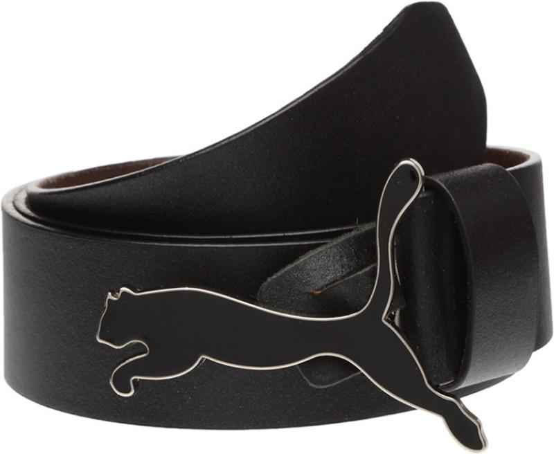 Puma Men & Women Black Genuine Leather Belt