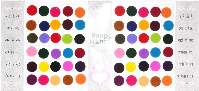 Roop Nikhar Matching Plaza Size-2.5 Forehead Multicolor Bindis(Everyday use)
