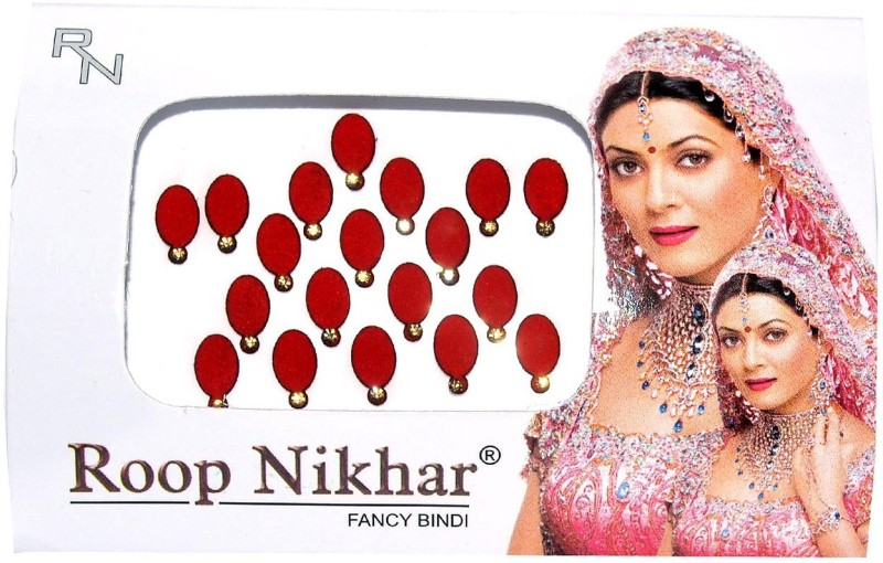 Roop Nikhar Oval with Crystal Vivah Collection Forehead Red Bindis(Fancy Design)