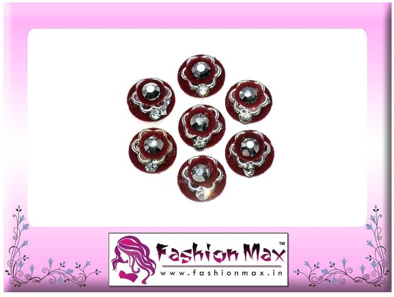 Fashion Max Full Moon with red flower black stone and Crystal Forehead Maroon Bindis(Fancy Design)