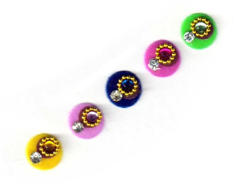 Fashion Max Full Moon with Crystal Forehead Multicolor Bindis(Fancy Design)