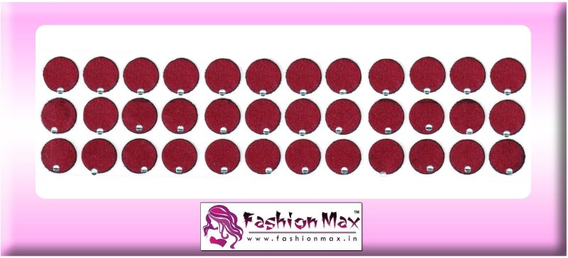 Fashion Max Full Moon with Crystal Forehead Maroon Bindis(Fancy Design)