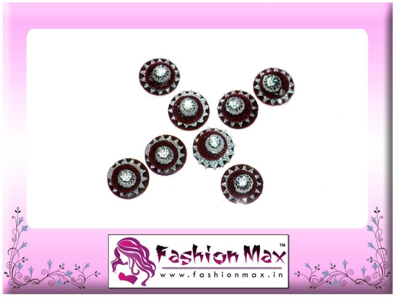 Fashion Max Red Full Moon Multi Layer with Stone Forehead Maroon Bindis(Fancy Design)