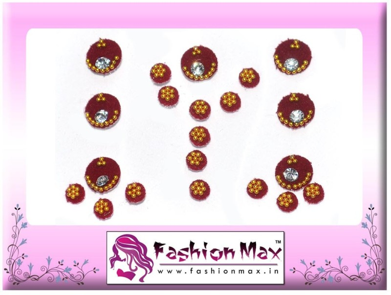 Fashion Max Full Moon in 2 different size with Crystal Forehead Maroon Bindis(Fancy Design)