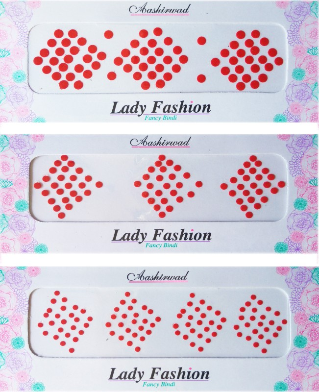 Lady Fashion Ashirwad Plain Bindi 2710201604 Forehead Red Bindis(Stick on)