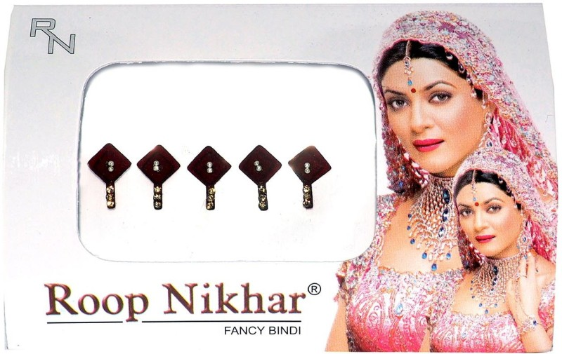 Roop Nikhar Cubic with Crystal Latkan Vivah Collection Forehead Maroon Bindis(Fancy Design)