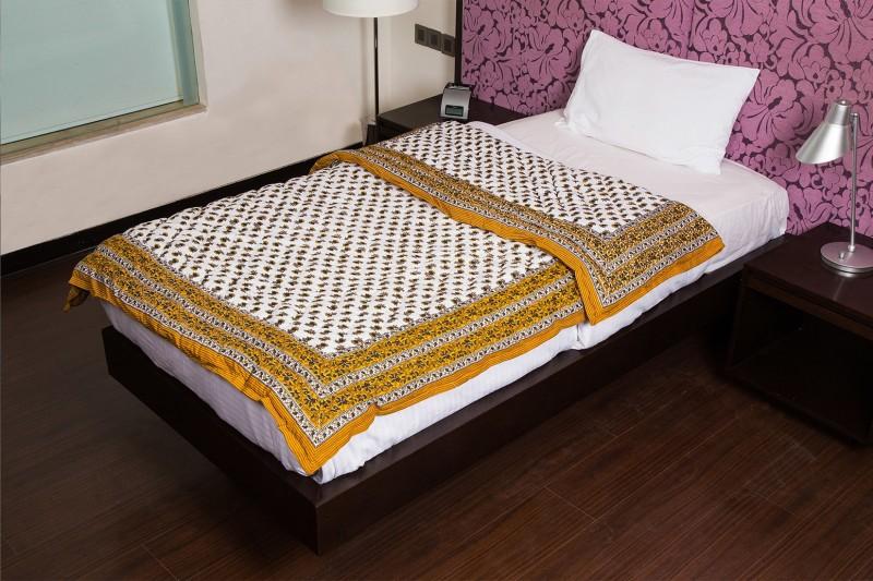 Jaipur Fabric Floral Single Quilt, Comforter Brown(1 Single Quilt)