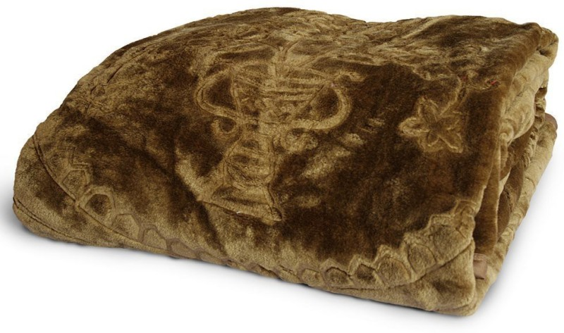 Tiajria Printed Double Mink Blanket(Microfiber, Brown)