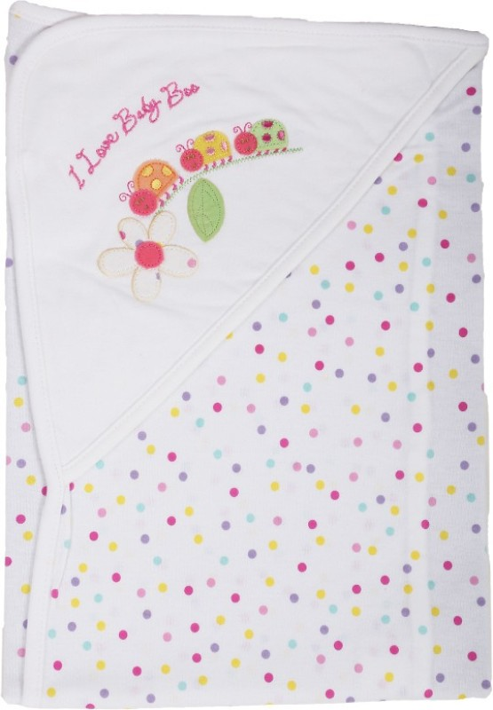 Baby Boo Embroidered, Polka Single Hooded Baby Blanket(Cotton, White)