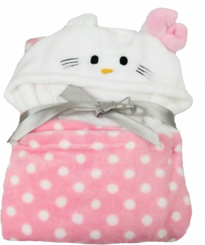 Brandonn Abstract Single Hooded Baby Blanket Pink