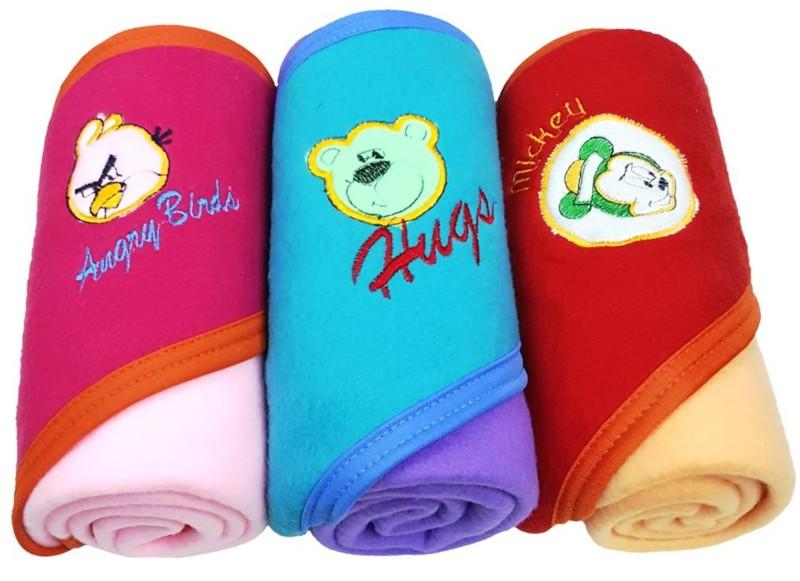 Brandonn Embroidered Single Hooded Baby Blanket Multicolor(AC Blanket)